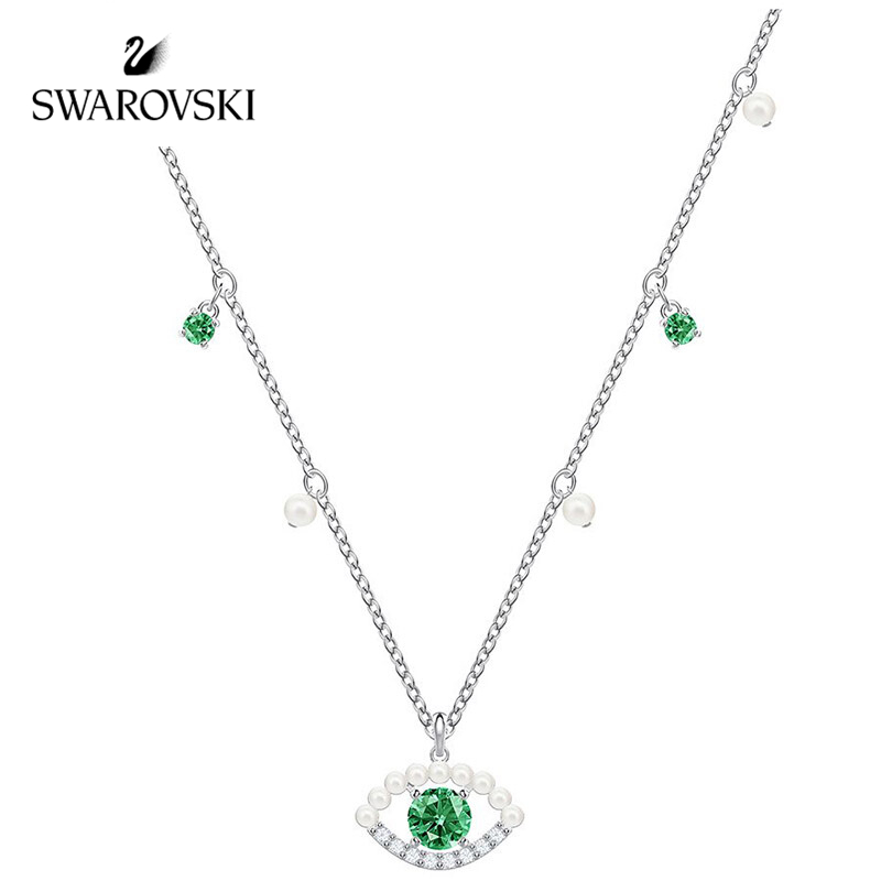 Original Genuine SWAROVSKI  Duo Evil Eye Lucky Y lady necklace temperament clavicle chain 5429734 green eyes