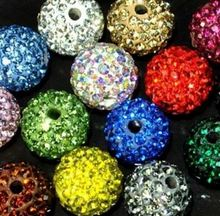 6mm 8mm 10mm 12mm 14mm 100 pcs/lot mixed random Loose CWR22  Crystal Shamballa Bead Bracelet necklace Rhinestone ball handmade