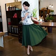 Shanghai Story Short Sleeve Chinese cheongsam top traditional Chinese Top Women's Vintage blouse top + Linen Skirt