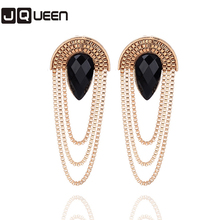 2017 Women Waterdrop Tassel Earrings Chunky Ear Accessories Gold Color Chandelier Long Earrings NYER94 For Women Brinco Bijoux