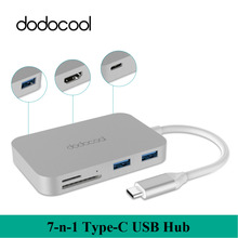 dodocool Alloy 7-in-1 Type-C USB 3.0 Hub 4K Video HD Output SD/TF Card Reader laptop charger for iphone 7 Macbook Air notebook(China)