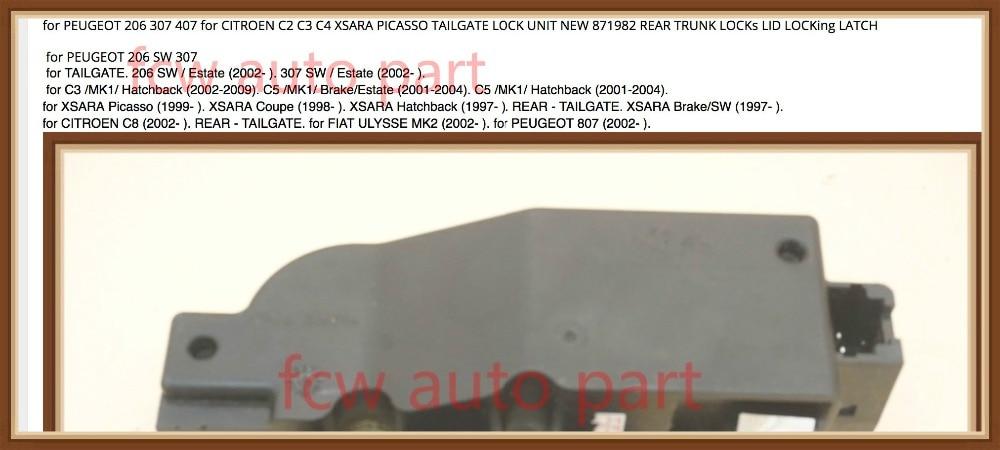 PEUGEOT 206 307 SW REAR TAILGATE LOCK ACTUATOR CENTRAL LOCKING LATCH  ;;;