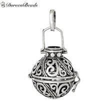 DoreenBeads Antique Silver Vintage Copper Wish Box Pendants Leaf Pattern Carved Hollow Can Open (Fits 16mm) 40mm x 24mm, 2PCs
