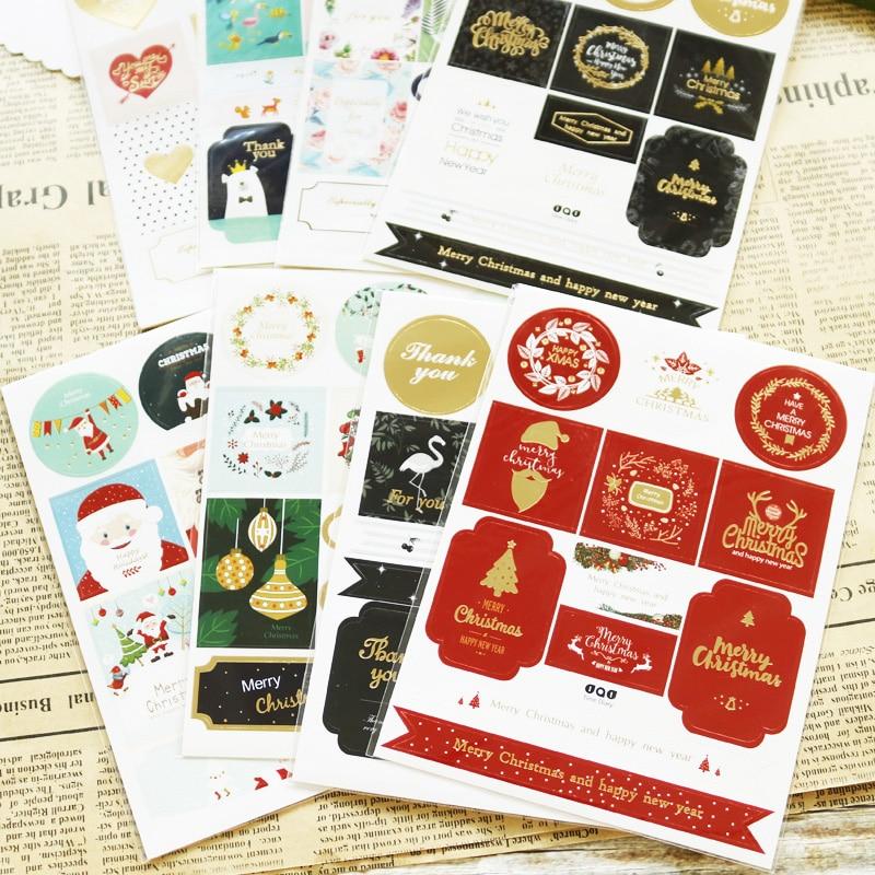 DIY Label Stationery Animal Christmas Stickers Santa Claus Snowman Merry Xmas