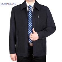 Mu Yuan Yang 50% Off Men Jackets Middle-aged Business Casual Men's Jackets And Coats Turn-down Collar Zipper Jackets XXXL XXL(China)
