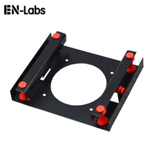 "En-Labs Black 3.5 "" SATA HDD to 5.25"" Bay Hard Disk Drive Shock Absorption Bracket converter mounting kit w/ w 8cm Fan Space(China)"