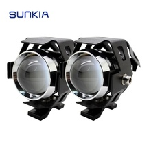 SUNKIA 2Pcs/Pair Waterproof Motorcycle LED Headlight 3000LM CREE Chip U5 3 Modes Motorbike LED Driving Fog Spot Head Light Lamp