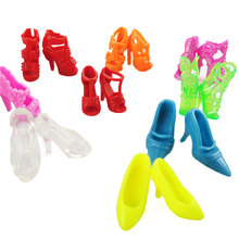 Free Shipping 10 Pair Mix Fashion Colorful Dolls Accessories Shoes Heels Sandals For Barbie Dress Doll Best Gift Baby Toys