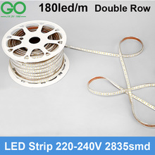 LED Strip Flexible Lights 180led/m 220V 230V 240V 2835 Double Row waterproof Tape Lights Ribbon Outdoor Decoration Lighting+plug