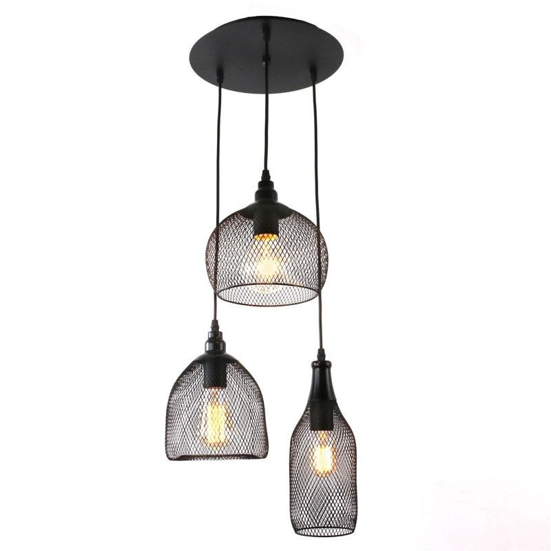 Antique Black Metal Nets Shade Multi Pendant Light Vintage Iron Bottle Shape Indoor Pendant Lamp E27 Lamp Holder<br>