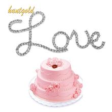 Shining Rhinestone Wedding Party Cake Decoration Letter Love Cake Topper