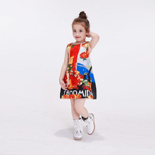 New India Girl Fashion Sleeveless Fruit Strawberry And Coconut Tree Prints Knee-Length A-line Beautiful Infantil Girls Dresses