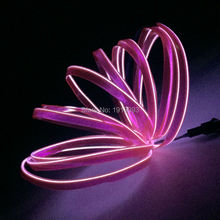 Hot sales 3Meters Pink LED Strip EL Wire Tube Rope Flexible Neon Light 2.3mm-skirt Car Inside Decoration