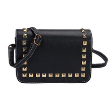 2017 Fashion Vintage Women Shoulder Bags Imitation leather Rivet Shoulder Bag Satchel Handbag Female Bag Sac Wholesale