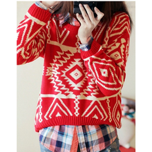 The New 2017 Ladies Fashion Design Geometry Loose Lady Christmas Sweater Leisure Brand Women Sweaters And Pullovers
