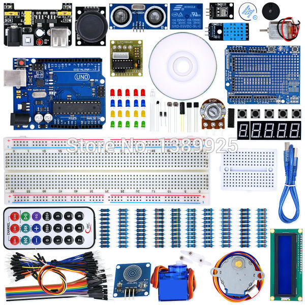 UNO Project Super Starter Kit with Tutorial, 5V Relay, UNO R3, Power Supply Module, Servo Motor, 9V Battery with DC,ect.<br>