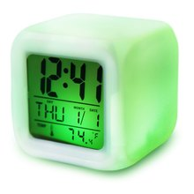 Promotion! Cute 7 LED Colors Changing Digital Alarm Clock Desk Gadget Digital Alarm Thermometer Night Glowing Cube LCD Clock