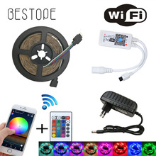 WIFI RGB LED Strip Light SMD 3014 15M 20M RGB tape DC12V Waterproof RGB ribbon diode 5M 10M led Flexible and WIFI Controller(China)