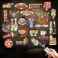 Hot New Remote Controller LED Neon Signs For Beer Bar Cafe Garage Kitchen Vintage Home Decor Wall Painting Light Metal Plaque