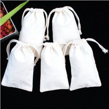 Wholesale W8 x H14cm high quality natural blank plain cotton drawstring small size muslin bags pouch free shipping