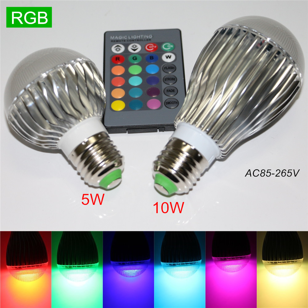 1Pcs Hot Sale 5W 10W E27 120 Level Brightness Dimmable Colorful 110V 220V RGB Led Lamp Bulb Light with 24Keys Remote Controller<br><br>Aliexpress