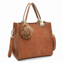 Good Quality Women Vintage Furly Handbags Luxury Designer Messenger Bags Girls Top-Handle Bags Leather Shopping Tote Fur Ball(China)