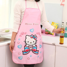 Nice Monther Gift Mommy Love HOT Women Cute Cartoon Hello Kitty PVC Waterproof Apron Kitchen Restaurant Cooking Bib Aprons
