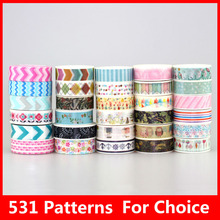 586 Patterns Hot 30pcs/Lot Tape flowers chevrons Print Deco DIY Adhesive Masking Tape,Japanese Washi Tape Paper 10m Wholesale(China)