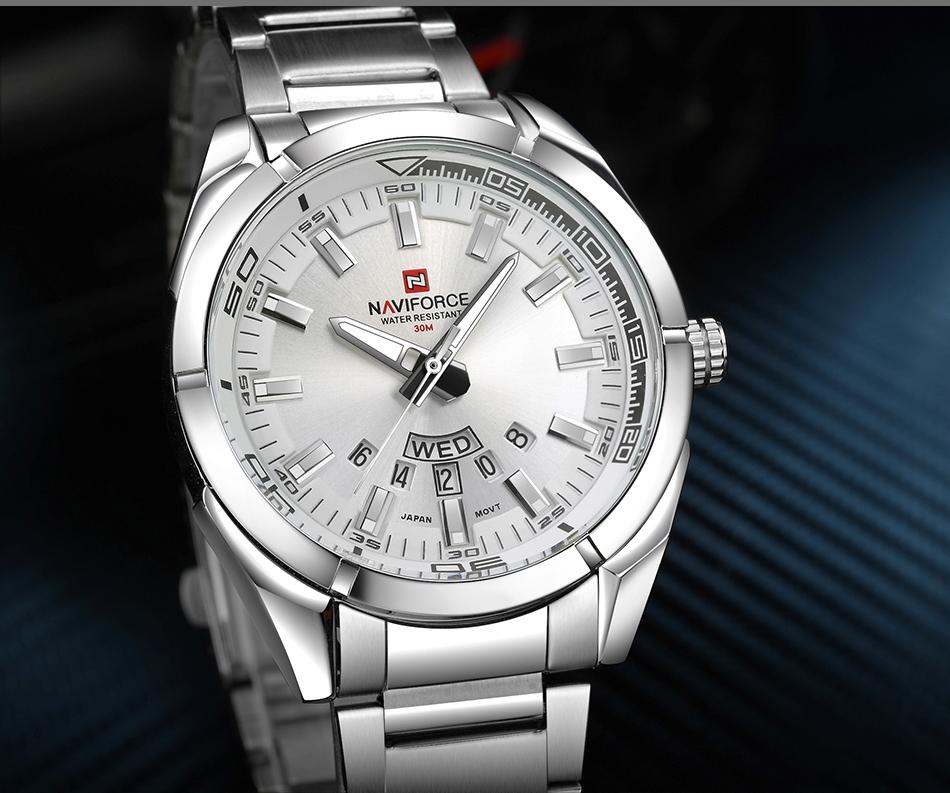 2017 NAVIFORCE Nouveau Top Marque Hommes de Montres Hommes En Acier Plein Imperméable Casual Quartz Date Horloge Mâle montre-Bracelet relogio masculino 10