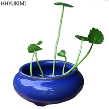HHYUKIMI Mini Round Ceramic Juicy Flowerpots Plants Flowers Vase Container Micro Garden Decoration Small Bonsai Pots for DIY(China)