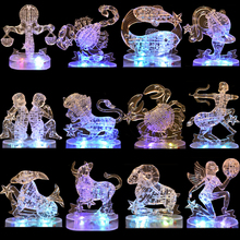 Educational DIY 3D Crystal Puzzles With Light Kids Christmas Toys Plastic Brain Horoscope Flashing Twelve Constellations Jigsaw