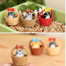 Best Selling 1 Pcs Cute Resin Crafts Decorations Miniature Cradle Cat Fairy Gnome Terrarium Christmas Xmas Party Garden Gift(China)