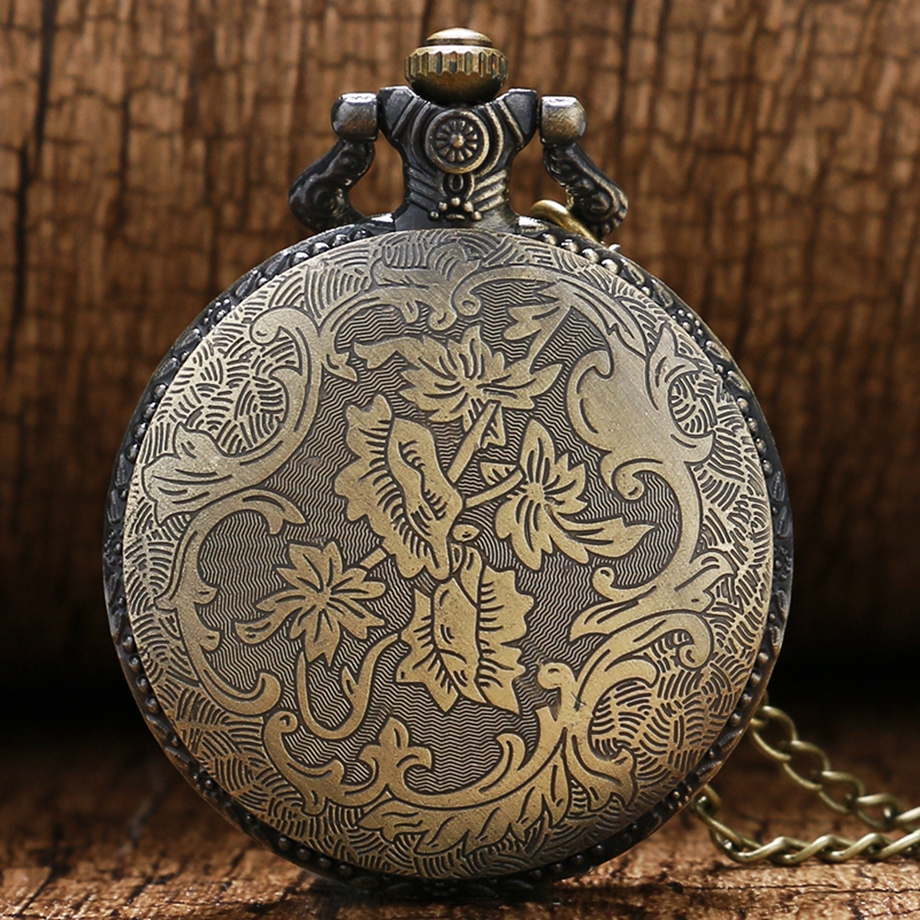 Antique Steampunk ACDC Hells Bell Quartz Pocket Watch Necklace Pendant Retro Men Women Xmas Gift (8)