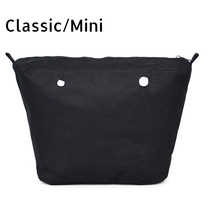 New Inner lining Insert Zipper Pocket For Classic Mini Obag Canvas insert with inner waterproof coating for O bag(China)
