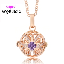 Butterfly Design Chime Bola Perfume Aromatherapy CZ Pendant Jewelry Women Interchangeable Harmony Caller Cage Necklace L095