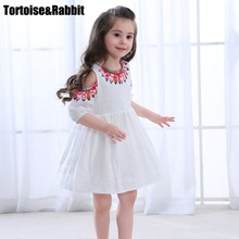 Summer Girls Off Shoulder Dress Child Girl A Line Dresses Kids Pure Color Flower Dress For Party Children Beach Dance Clothes(China)