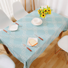 Pastoral Embroidery Blue Table Cloth Various Size Dust Proof Geometry Rectangular Home Banquest Wedding Table Covers