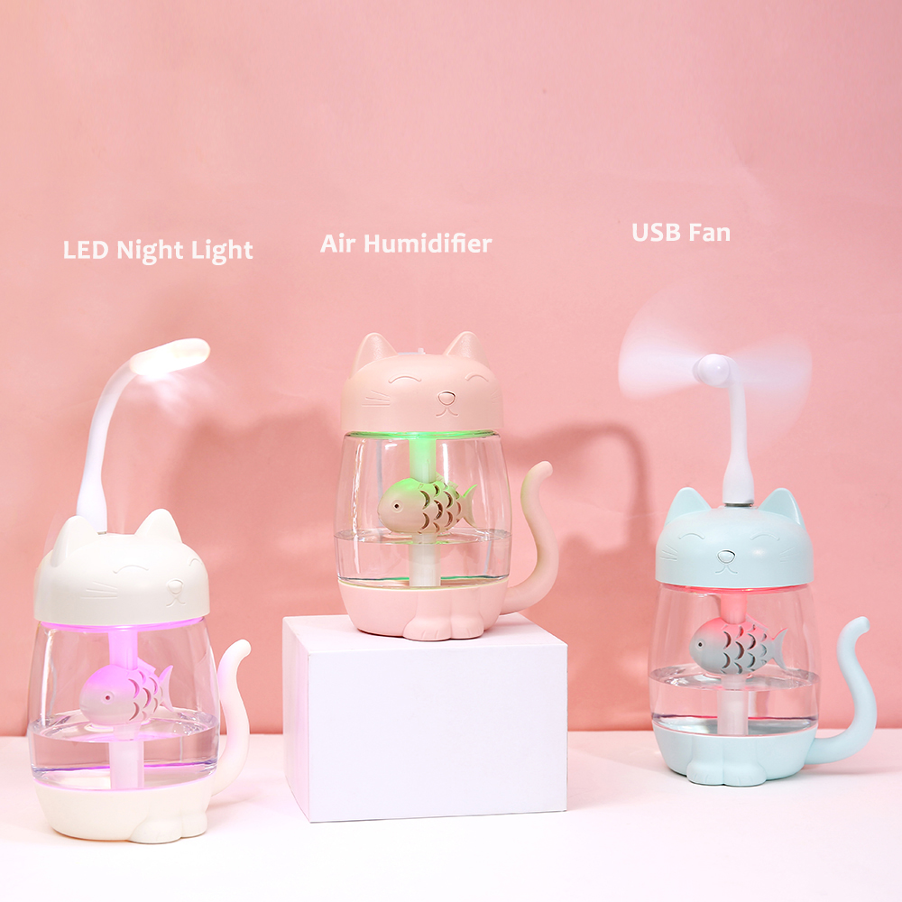 350ML Air Humidifier with Light Ultrasonic Adorable Cat Mini USB Humidificador Silent Color Light 3 In 1 Aroma Diffuser for Car