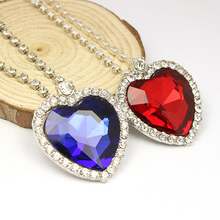 Fashion Jewelry Titanic Love Heart of the Ocean Blue/red rock crystal Women Necklace Valentine's Day Gift
