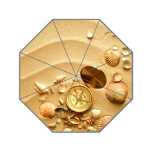 Golden Yellow Sand Shell Compass Custom Portable Folding Travel Design Rain and Sun Beach Umbrellas Hat Unique Parasol Umbrella
