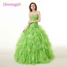 Green Cheap Quinceanera Dresses 2017 Ball Gown Sweetheart Floor Length Organza Ruffles Crystals Sweet 16 Dresses(China)