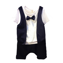 2pcs Kids Boys Fashion One Piece False Two T-shirt Tops Striped Vest Shorts Outfits+One Striped Pants Boys Summer Clothing Set