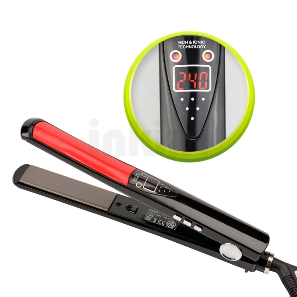 LCD Display Titanium plates Flat Iron Straightening Irons Styling Tools Professional Hair Straightener Floating Ceramic Plate 47<br><br>Aliexpress