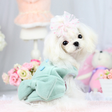 Warm Pet Dog Coat with Heart Bow-knot Design England Style Winter Pet Dog Thickening Teddy Jacket Coat Green Pink Color(China)
