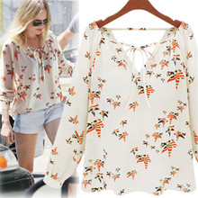 MUQGEW Sexy Costume Summer Casual Long Sleeve Blouse Camisa feminina Chiffon Floral Shirt Women female flower print top