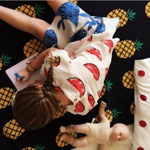 Pure cotton knitted children's tapestry pineapple design blanekt three color travel cover blanket soft 100% cotton good quality