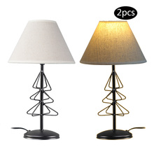 2 Pieces/lot E14 Bulb Lighting Holder Table Lamps Iron Base Fabric Lampshade for Home Decoration Lights(China)