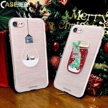 CASEIER 2017 Winter Phone Case For iPhone X 7 Plus Christmas 3D Painting Soft Silicone Cover For iPhone 8 Plus Cases Funda Shell(China)