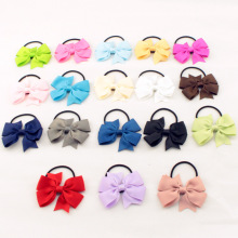 Fashion Cute Kids Ribbon Bow Elastic Hair Bands Sweet Hair Rope Hair Accessories Gift 20 Colors(China)