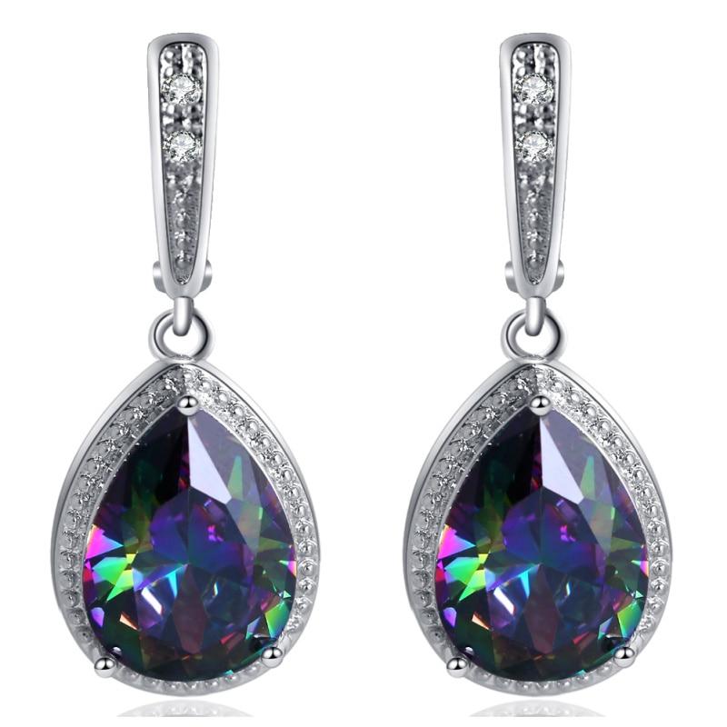 ROLILASON Water Drop Design 925 Silver multicolor Zircon For girl Earrings Necklace Rings Jewelry Sets JS736